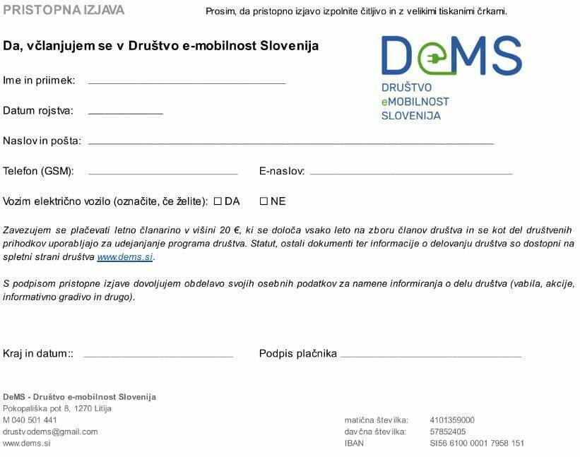 Pristopna izjava DEMS