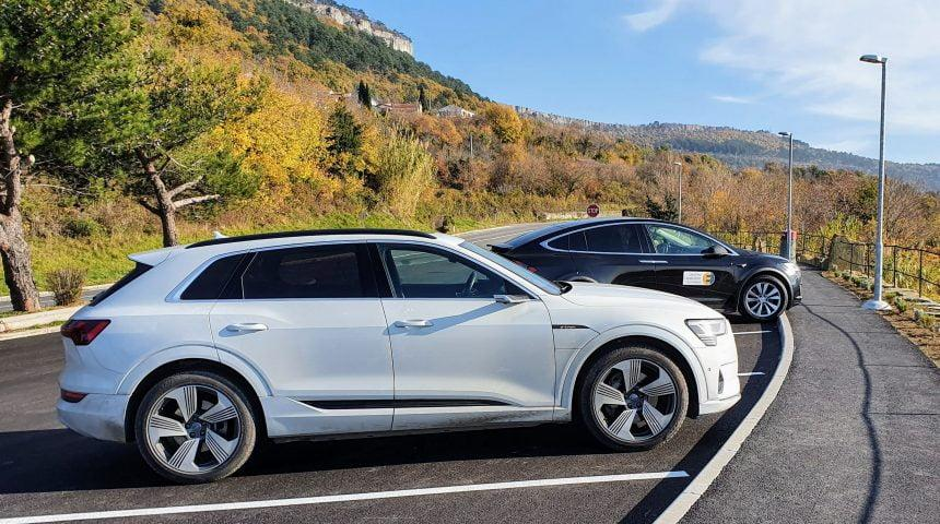 Test: Tesla model X90D in Audi e-Tron quattro 55