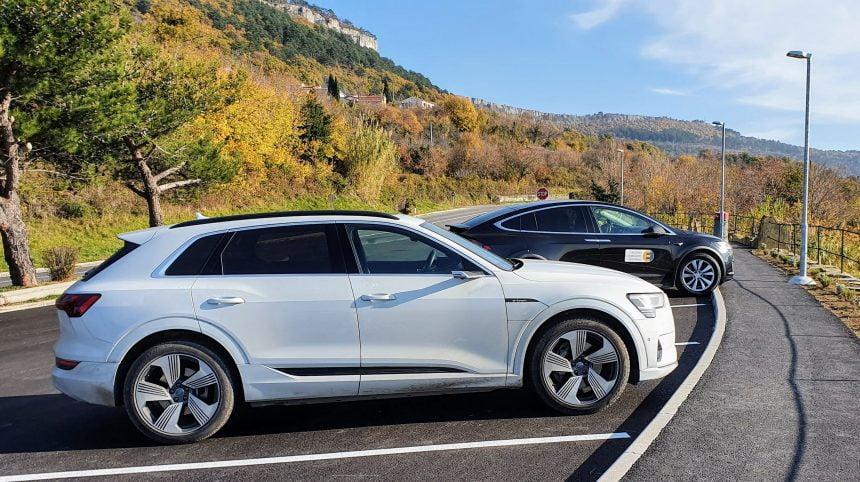 Test: Tesla model X90D in Audi e-Tron quattro 55